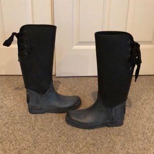 Coach charcoal grey black Tristin tall rain boot 8